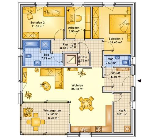 Bio-Solar-Haus - Planungsbeispiel 106H10 Floorplan 1