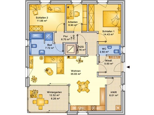 Planungsbeispiel 106H10 von Bio-Solar-Haus Grundriss 1