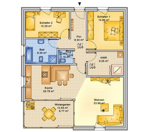 Bio-Solar-Haus - Planungsbeispiel 108H10 Floorplan 1
