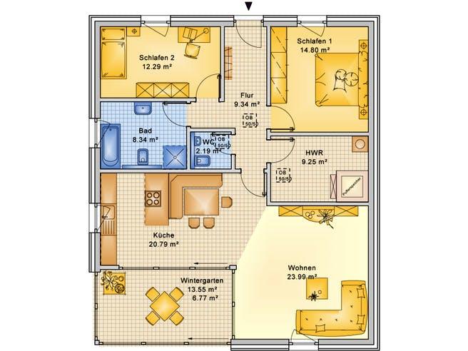 Planungsbeispiel 108H10 von Bio-Solar-Haus Grundriss 1