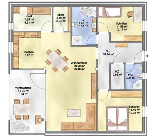 Bio-Solar-Haus - Planungsbeispiel 108SB10 Floorplan 1
