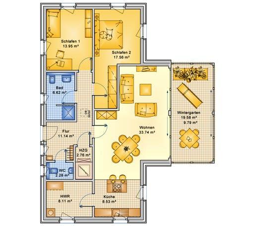 Bio-Solar-Haus - Planungsbeispiel 114H10 Floorplan 1