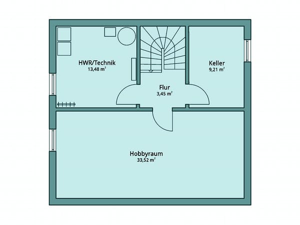 Quadratischer Keller Grundriss