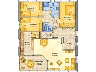 Planungsbeispiel 119H10 von Bio-Solar-Haus Grundriss 1