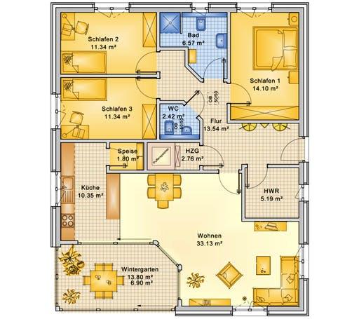 Bio-Solar-Haus - Planungsbeispiel 119H10 Floorplan 1