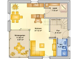 Planungsbeispiel 120H20 von Bio-Solar-Haus Grundriss 1