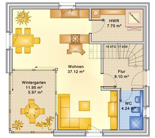 Bio-Solar-Haus - Planungsbeispiel 120H20 Floorplan 1