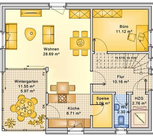 Bio-Solar-Haus - Planungsbeispiel 125H15 Floorplan 1