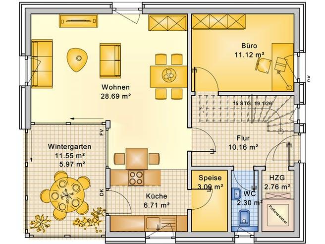 Planungsbeispiel 125H15 von Bio-Solar-Haus Grundriss 1
