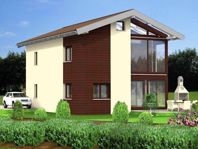 Planungsbeispiel 128H20 von Bio-Solar-Haus Außenansicht 1