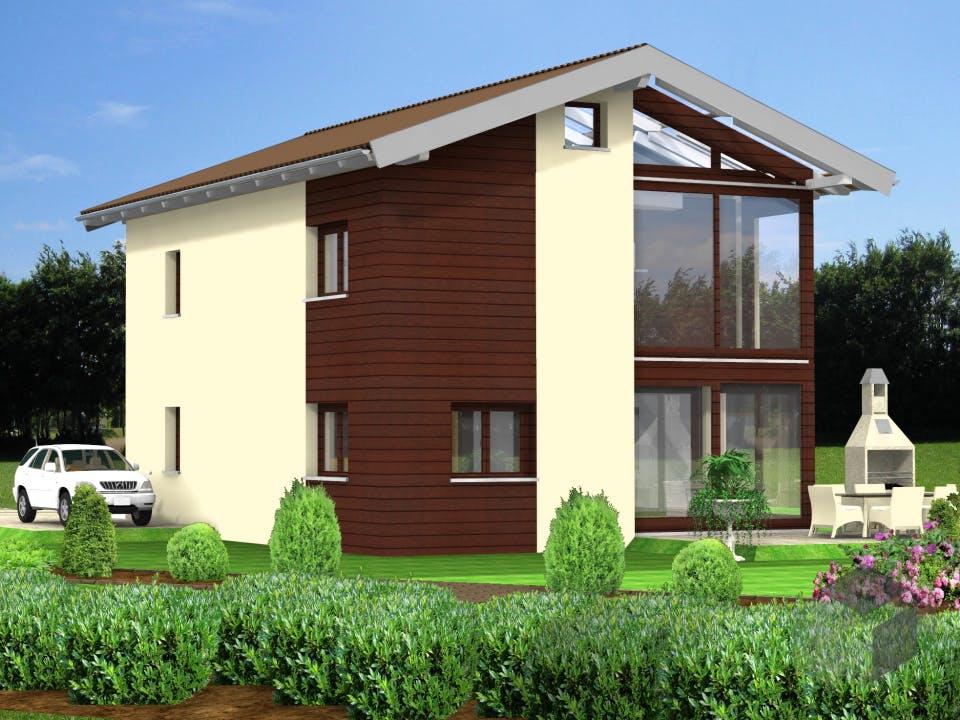 Planungsbeispiel 128H20 von Bio-Solar-Haus Außenansicht