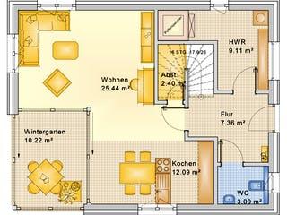 Planungsbeispiel 128H20 von Bio-Solar-Haus Grundriss 1