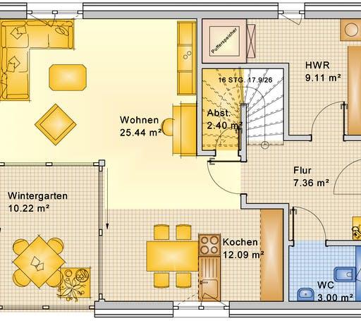 Bio-Solar-Haus - Planungsbeispiel 128H20 Floorplan 1