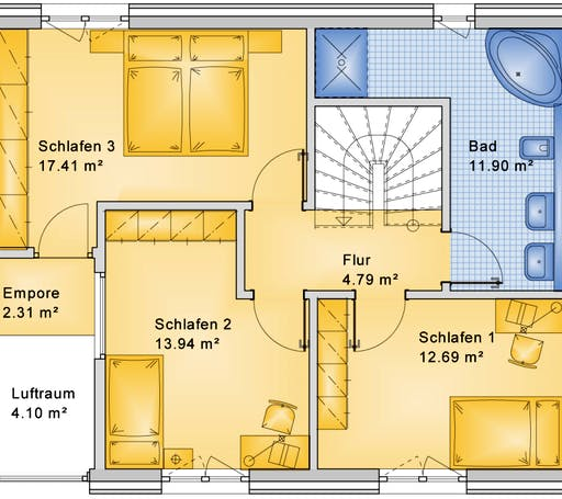 Bio-Solar-Haus - Planungsbeispiel 128H20 Floorplan 2