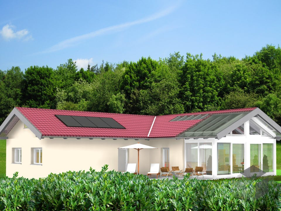 Planungsbeispiel 132H10 von Bio-Solar-Haus Außenansicht