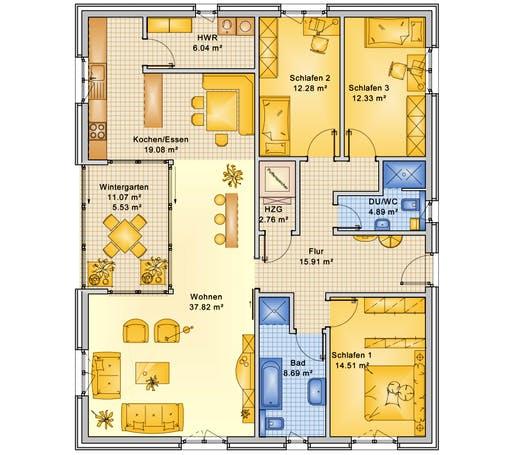 Bio-Solar-Haus - Planungsbeispiel 132H10 Floorplan 1