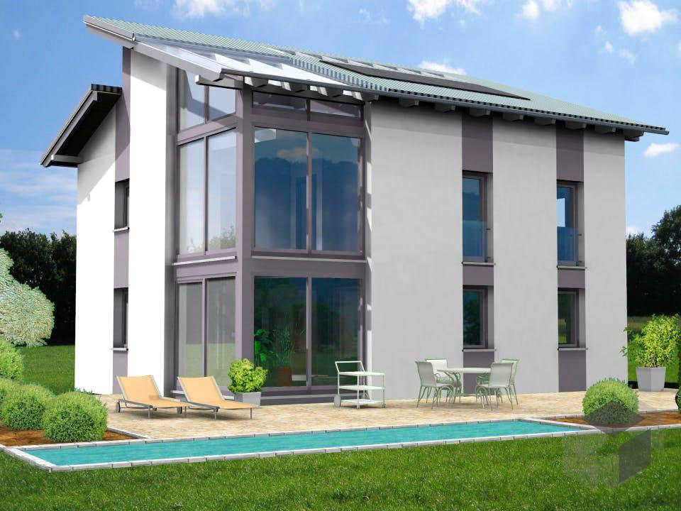 Planungsbeispiel 139H20 von Bio-Solar-Haus Außenansicht