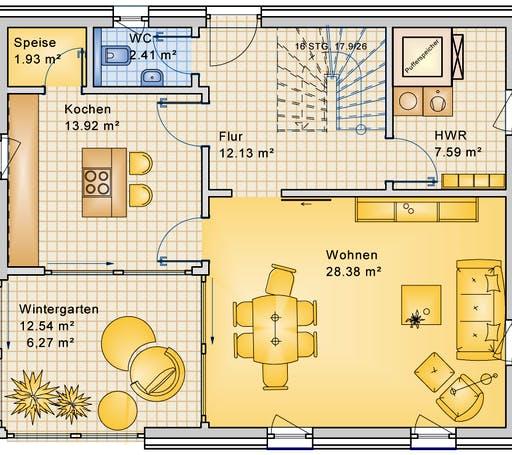 Bio-Solar-Haus - Planungsbeispiel 139H20 Floorplan 1