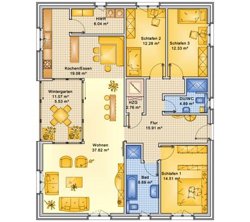 Bio-Solar-Haus - Planungsbeispiel 140H10 Floorplan 1