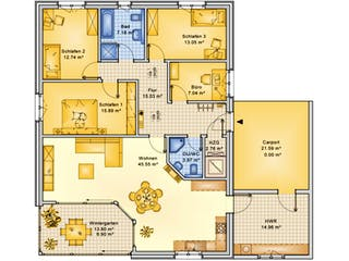 Planungsbeispiel 145H10 von Bio-Solar-Haus Grundriss 1