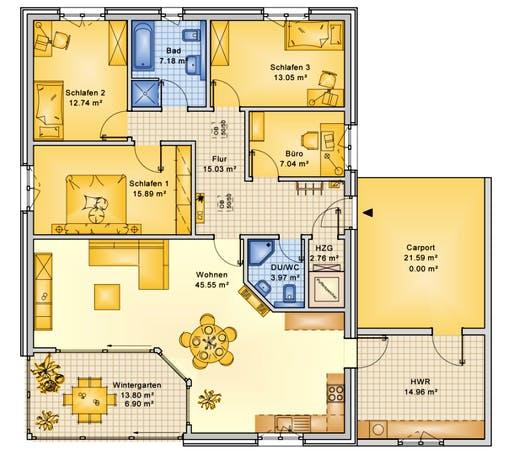 Bio-Solar-Haus - Planungsbeispiel 145H10 Floorplan 1