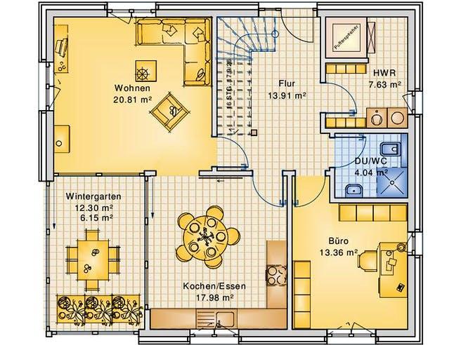 Planungsbeispiel 151H15 von Bio-Solar-Haus Grundriss 1