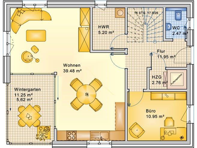 Planungsbeispiel 152H20 von Bio-Solar-Haus Grundriss 1