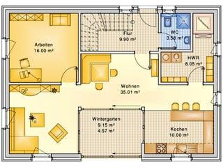 Planungsbeispiel 158H15 von Bio-Solar-Haus Grundriss 1