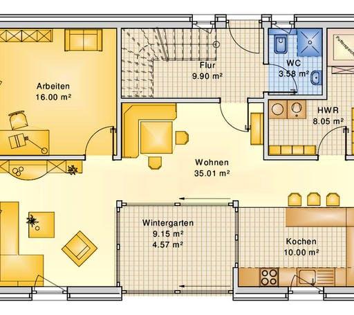 Bio-Solar-Haus - Planungsbeispiel 158H15 Floorplan 1