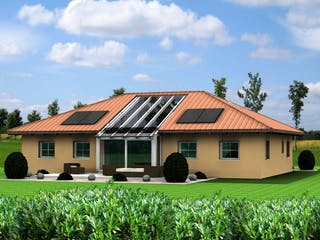 Planungsbeispiel 160H10 von Bio-Solar-Haus Außenansicht 1
