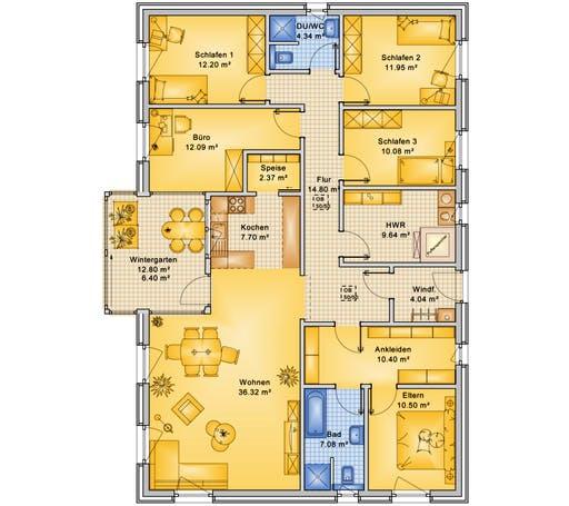 Bio-Solar-Haus - Planungsbeispiel 160H10 Floorplan 1