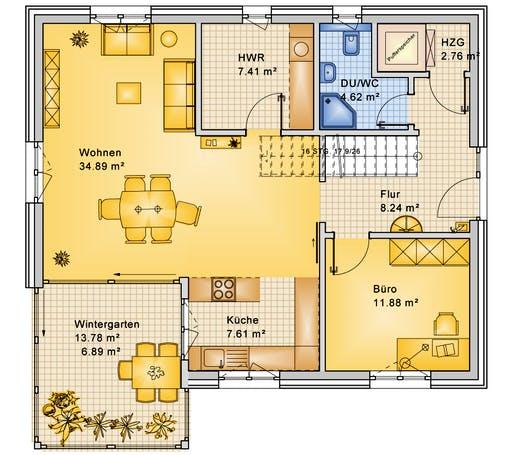 Bio-Solar-Haus - Planungsbeispiel 165H20 Floorplan 1