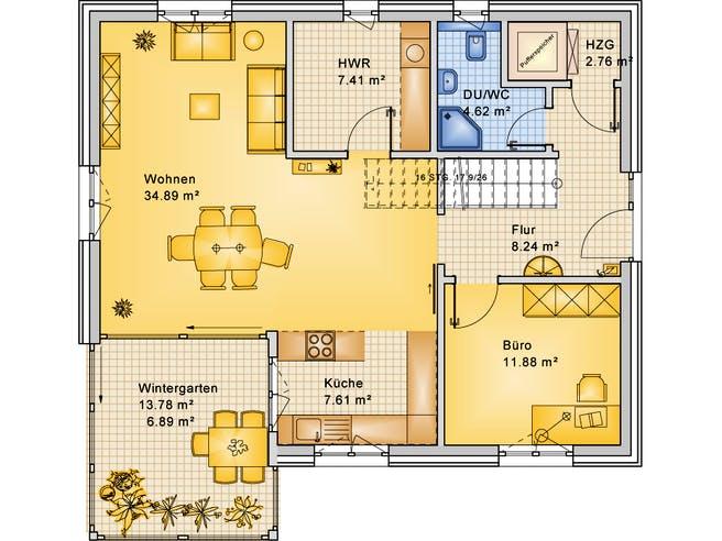 Planungsbeispiel 165H20 von Bio-Solar-Haus Grundriss 1