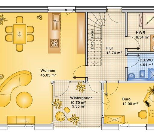 Bio-Solar-Haus - Planungsbeispiel 168H20 Floorplan 1