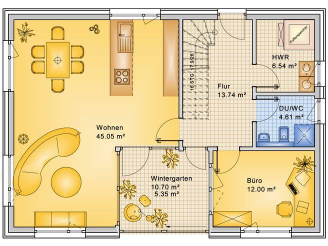Planungsbeispiel 168H20 von Bio-Solar-Haus Grundriss 1