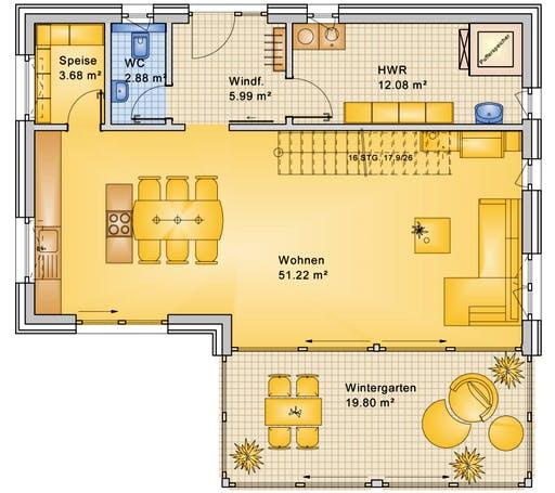Bio-Solar-Haus - Planungsbeispiel 170H20 Floorplan 1