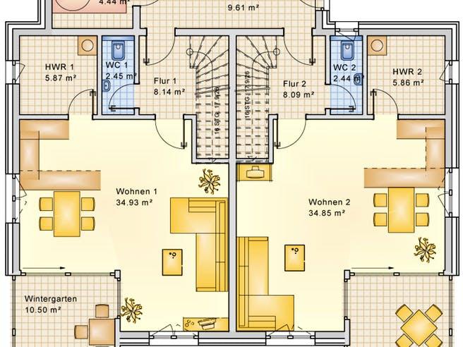 Planungsbeispiel 223DH20 von Bio-Solar-Haus Grundriss 1