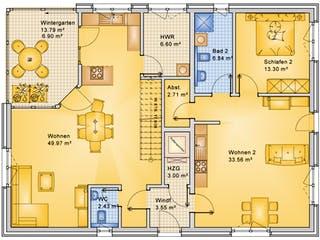 Planungsbeispiel 252H20 von Bio-Solar-Haus Grundriss 1