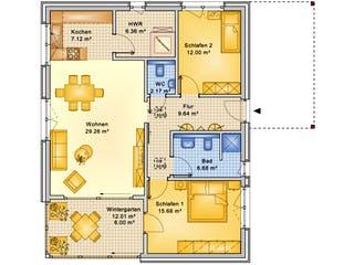 Planungsbeispiel 95H10 von Bio-Solar-Haus Grundriss 1