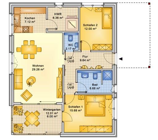 Bio-Solar-Haus - Planungsbeispiel 95H10 Floorplan 1