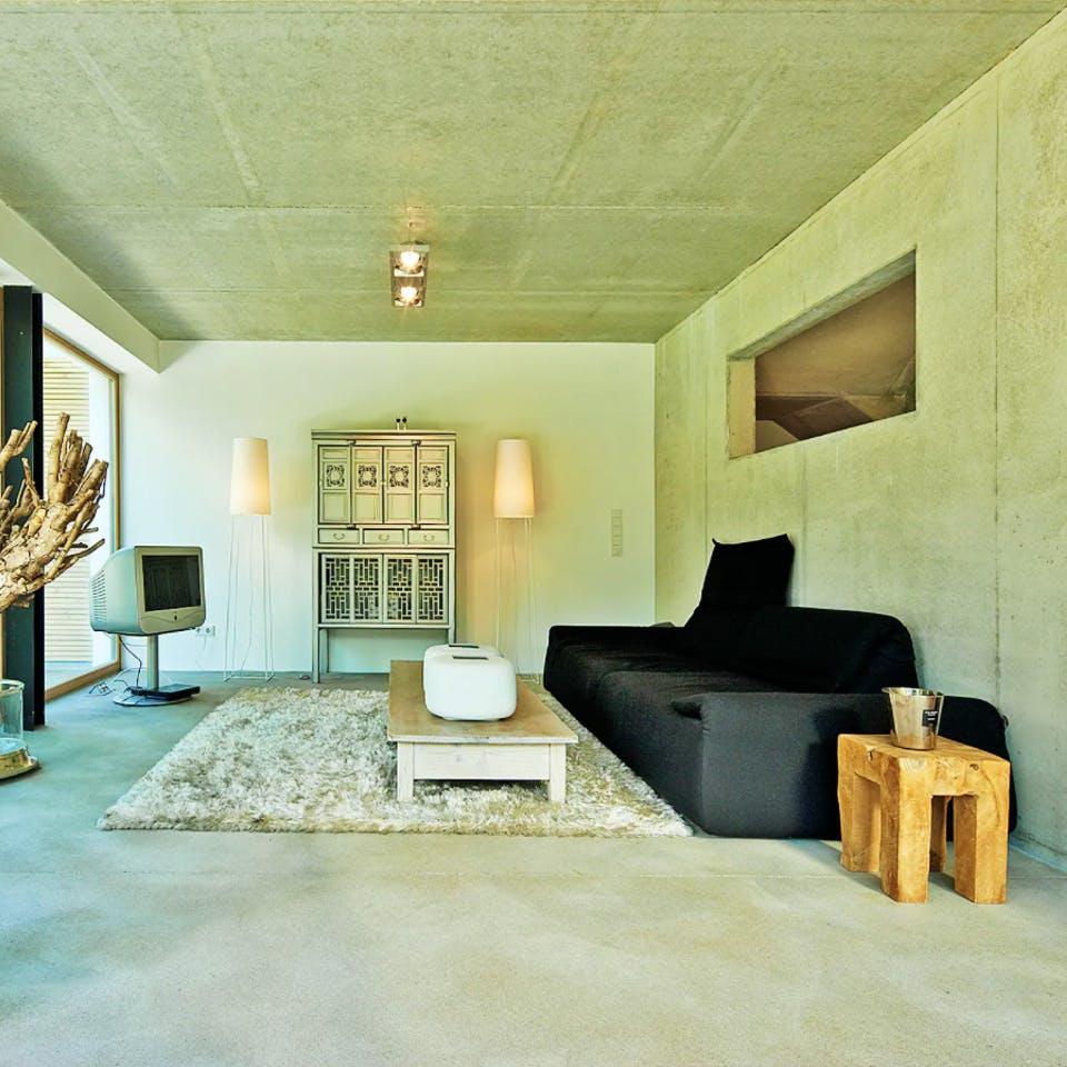 Betondecke im Wohnzimmer