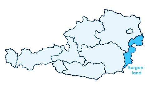 Karte Österreichs mit Hervorhebung vom Burgenland