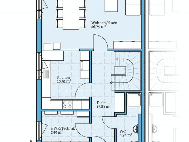 Doppelhaus 45-119 von Hanse Haus Grundriss 1