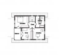 E 15-143.1 - Rotes Landhaus mit Balkon Grundriss