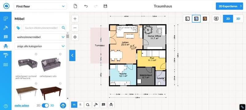 Floorplanner Grundriss 2D mit Möbel einfach