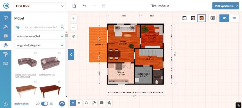 Floorplanner Grundriss 2D mit Möbel