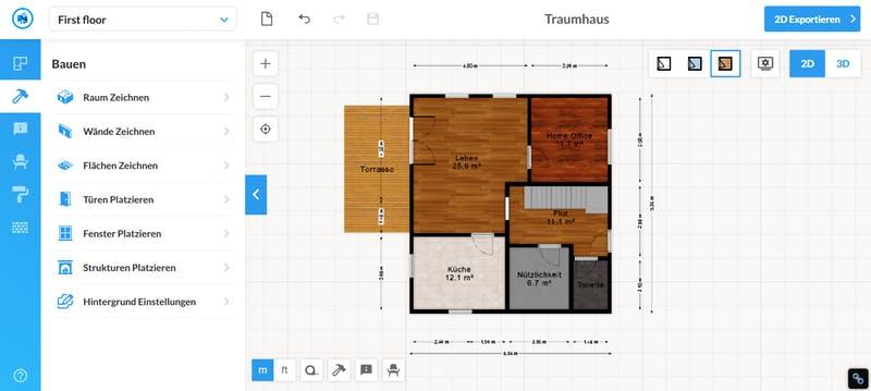 Floorplanner Grundriss 2D ohne Möbel