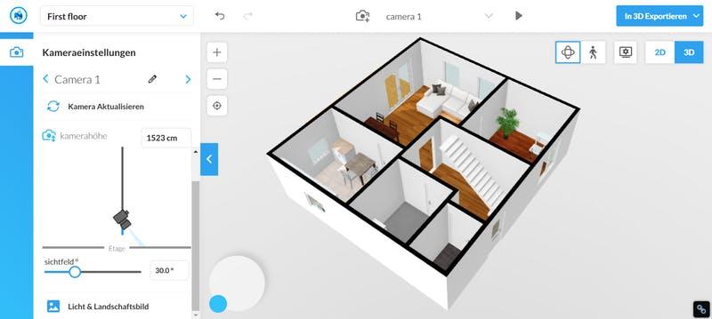 Floorplanner Grundriss 3D mit Möbel
