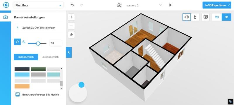Floorplanner Grundriss 3D ohne Möbel