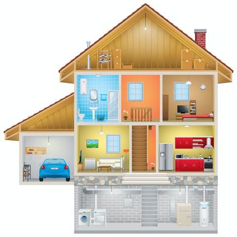 Hausquerschnitt mit Keller